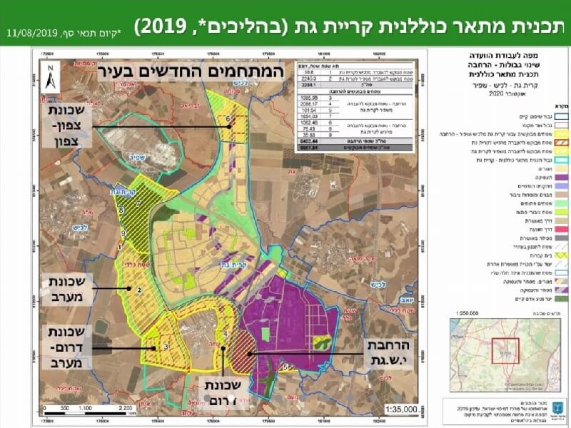 הועדה הגאוגרפית קיימה דיון בהרחבת גבולות שיפוט העיר קרית גת: הרחבת מתחם כרמי גת צפון ב 5,500 יח