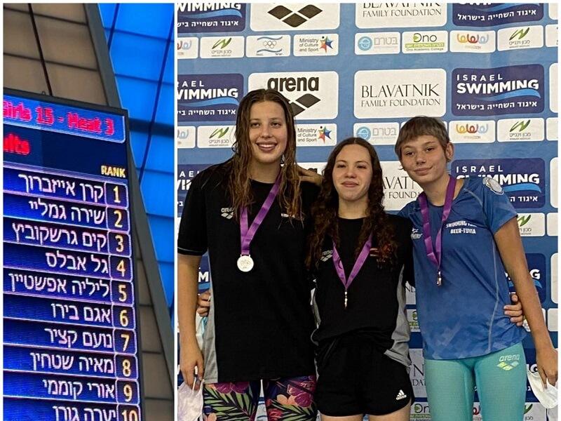 קים גרשקוביץ מקרית גת זוכת המקום השלישי באליפות ישראל בשחייה
